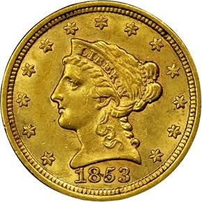 1853 $2.5 MS obverse