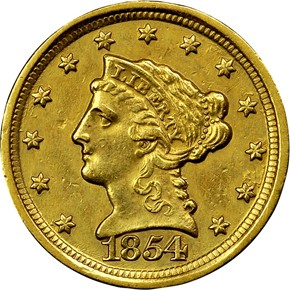 1854 D $2.5 MS obverse