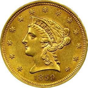 1859 TYPE 2 $2.5 MS obverse