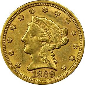 1869 S $2.5 MS obverse