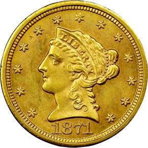 1871 S $2.5 MS obverse
