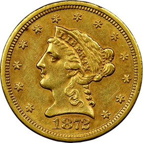 1872 S $2.5 MS obverse