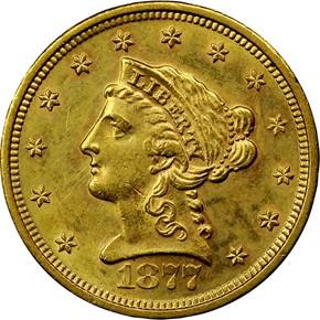 1877 S $2.5 MS obverse