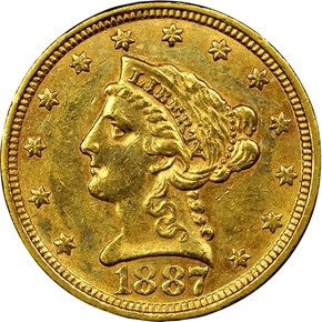 1887 $2.5 MS obverse
