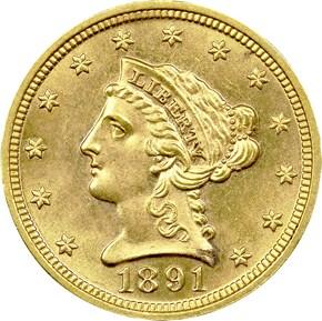1891 $2.5 MS obverse