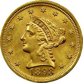 1893 $2.5 MS obverse