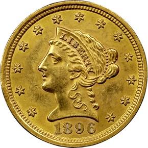 1896 $2.5 MS obverse