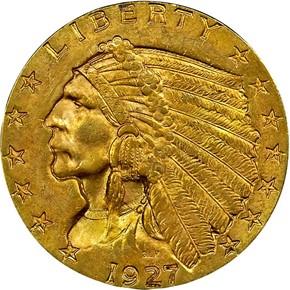 1927 $2.5 MS obverse
