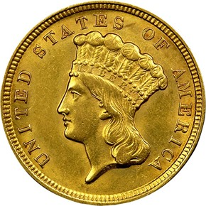 1854 $3 MS obverse