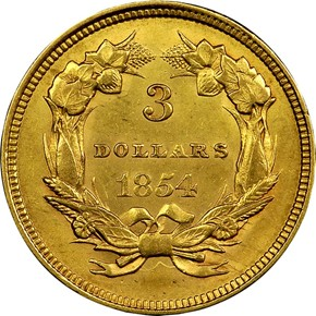 1854 $3 MS reverse