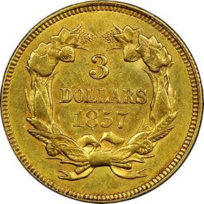 1857 $3 MS reverse