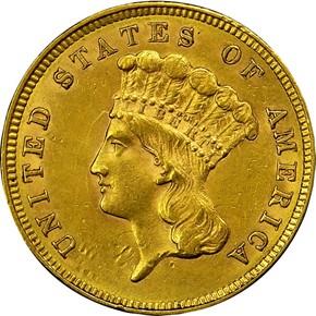 1859 $3 MS obverse