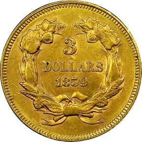 1859 $3 MS reverse