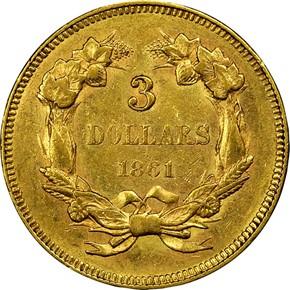 1861 $3 MS reverse
