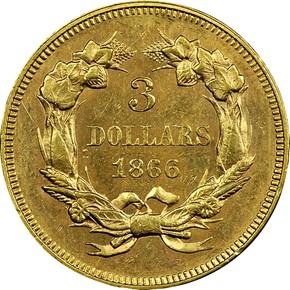 1866 $3 MS reverse