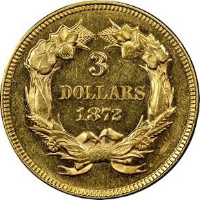 1872 $3 MS reverse
