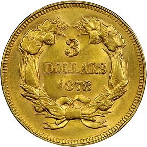 1878 $3 MS reverse