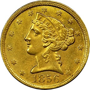 1856 C $5 MS obverse