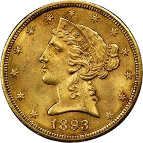 1893 CC $5 MS obverse