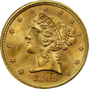 1895 $5 MS obverse