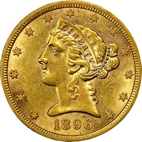 1896 S $5 MS obverse