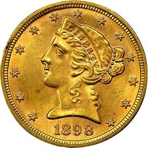1898 $5 MS obverse