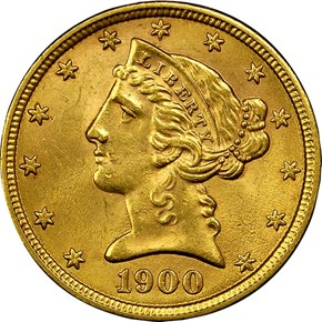 1900 $5 MS obverse