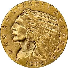 1908 D $5 MS obverse