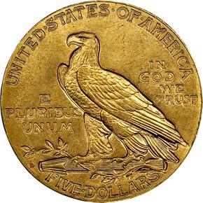 1908 D $5 MS reverse