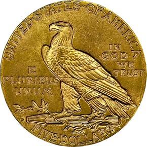 1909 D $5 MS reverse
