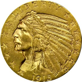 1915 $5 MS obverse