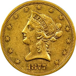 1877 S $10 MS obverse