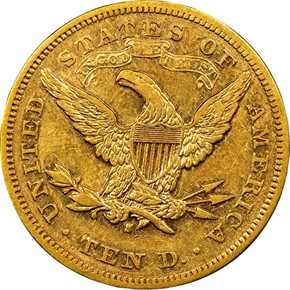 1877 S $10 MS reverse