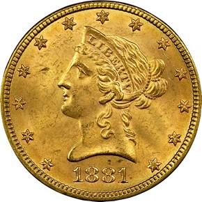 1881 $10 MS obverse