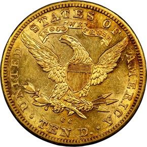 1890 CC $10 MS reverse