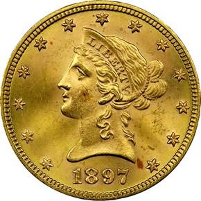 1897 $10 MS obverse