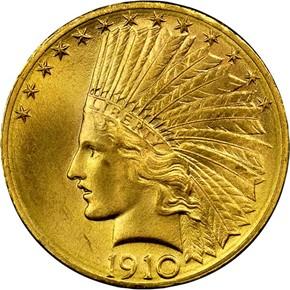 1910 D $10 MS obverse