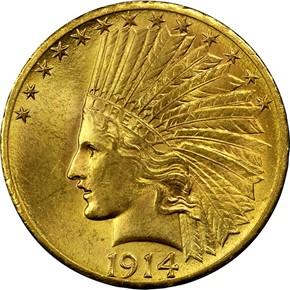 1914 S $10 MS obverse