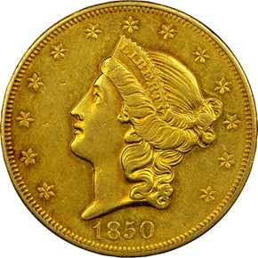 1850 O $20 MS obverse