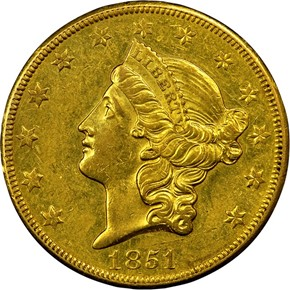 1851 O $20 MS obverse