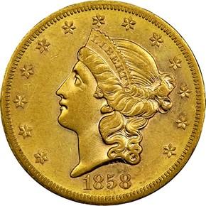 1858 S $20 MS obverse