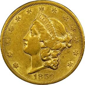 1859 S $20 MS obverse