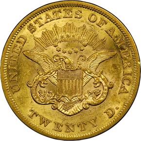1860 $20 MS reverse