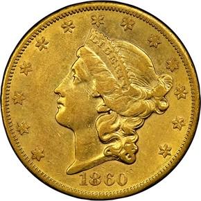 1860 S $20 MS obverse