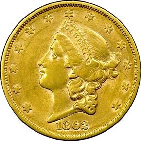 1862 S $20 MS obverse