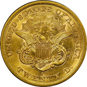 1863 S $20 MS reverse