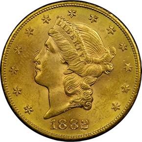 1882 S $20 MS obverse