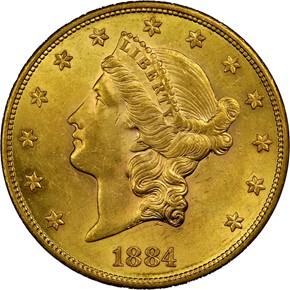 1884 S $20 MS obverse