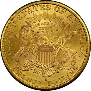1887 S $20 MS reverse