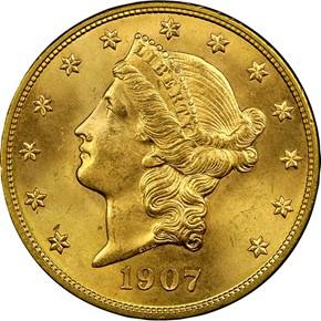 1907 D $20 MS obverse